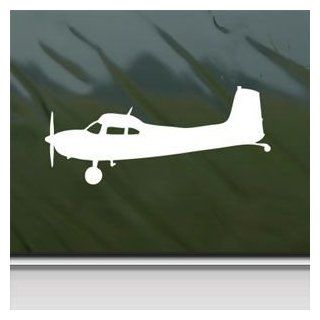 Cessna 180 Skywagon Side Silhouette White Sticker Decal Car Window Wall Macbook Notebook Laptop Sticker Decal   Decorative Wall Appliques