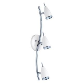 Riccio 3 Light Chrome and White Track Lighting 200148A
