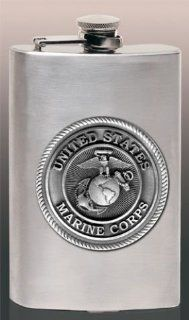 USMC Marine Corps 8 oz Stainless Hip & Travel Flask Sports & Outdoors