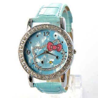 Hello Kitty Large Round Shell Face Rhinestones Quartz Faux Leather Wrist Watch Light Blue Toys & Games