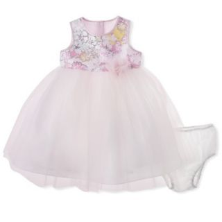 Cherokee Infant Toddler Girls Sleeveless Floral Top Empire Dress   Soft Pink 4T