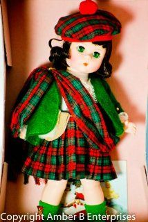 Madame Alexander   International Series   #596   Scotland Lass Doll   8 Inch   Tartan Tam   Brown Hair / Green Eyes   Clan Sash   Tartan Kilt   Green Wool Jacket   Out of Production   Mint   Rare   Collectible Toys & Games
