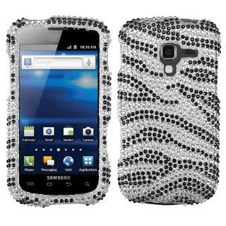 Samsung Galaxy Exhilarate i577 and i 577 Cell Phone High Quality Diamante Full Crystals Diamonds Bling Protective Case Cover Black and Silver Zebra Animal Skin Stripes Design Cell Phones & Accessories