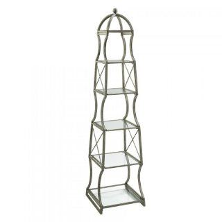Chester Iron and Glass Rustic Gray Etagere   Andirons