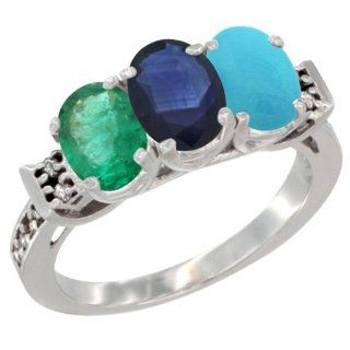 14K White Gold Natural Emerald, Blue Sapphire & Turquoise Ring 3 Stone Oval 7x5 mm Diamond Accent, sizes 5   10 Jewelry