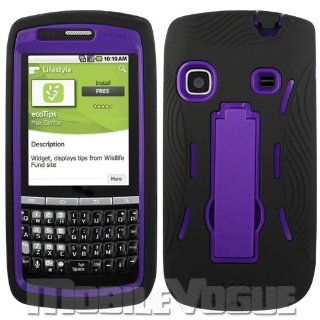 Reiko SLCPC06 SAMM580BKPP Premium Durable Hybrid Combo Case with Kickstand for Samsung Replenish (M580)   1 Pack   Retail Packaging   Black/Purple Cell Phones & Accessories