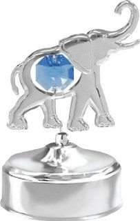 Chrome Plated Elephant Music Box.With Blue Austrian Crystals   Luxury Frames