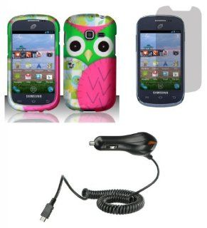 Samsung Galaxy Centura S738C   (Straight Talk, Net10, Tracfone)   Accessory Combo Kit   Hot Pink and Green Owl Design Shield Case + Atom LED Keychain Light + Screen Protector + Micro USB Car Charger Cell Phones & Accessories