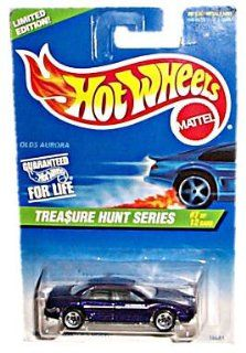 Hot Wheels   Limited Edition 1997 Treasure Hunt Series   #7 of 12   Olds Aurora (Purple)   5 Spoke Wheels   Collector #584 Toys & Games