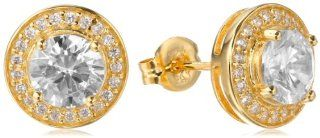 18k Yellow Gold Plated Sterling Silver Simulated Diamond Round Halo Stud Earrings Jewelry