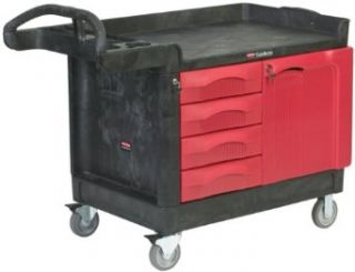 "Rubbermaid Commercial TradeMaster Structural Foam Service Cart with 4 Drawer and Cabinet, 1 Shelf, Black, 750 lbs Load Capacity, 38"" Height, 49"" Length x 26 1/4"" Width"