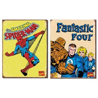 Nostalgic Superhero Tin Metal Sign Bundle   2 comic book hero signs Spider Man Retro & Fantastic Four Retro 0117   Decorative Signs