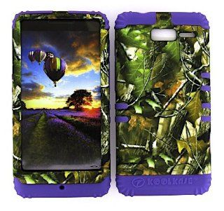 For Motorola Droid Razr M Xt907 Camo Green Leaves Heavy Duty Case + Light Purple Rubber Skin Accessories Cell Phones & Accessories