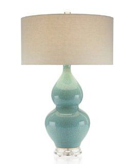 John Richard 32.5H Aqua Double Gourd Ceramic Lamp   Table Lamps