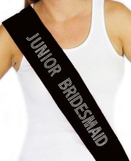 RhinestoneSash Junior Bridesmaid Bridal Party Rhinestone Sash Large Black Fashion Scarves