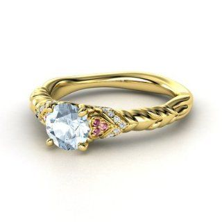Duchess of Hearts Ring Round Aquamarine 14K Yellow Gold Ring with Rhodolite Garnet & Diamond Jewelry