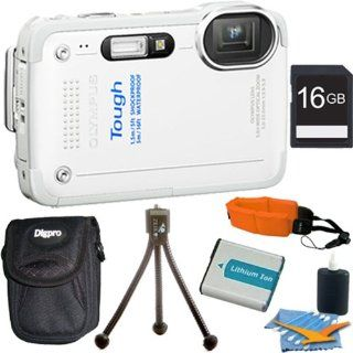 Olympus Stylus TG 630 iHS Digital Camera with 5x Optical Zoom and 3 Inch LCD (White) Plus 16GB Memory Kit. Kit Includes 16GB Memory Card, Replacement Lithium Battery, Flexible Mini Table top Tripod, Deluxe Carrying Case, Floating Wrist Strap, and 3pc. Le
