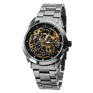 Women's Snake Hollow Style Steel Analog Auto Mechanical Wrist Watch (Black Band) Watches