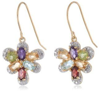 18k Yellow Gold Plated Sterling Silver Multi Gemstone and Diamond Accent Butterfly Earrings Dangle Earrings Jewelry