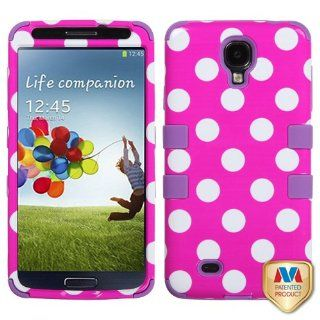 MyBat Samsung Galaxy S 4 TUFF Hybrid Phone Protector Cover   Retail Packaging   White Polka Dot Hot Pink/Electric Purple Cell Phones & Accessories