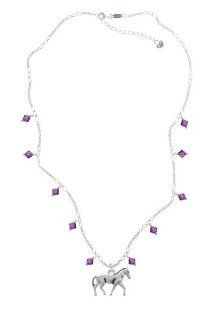 Silver Walking Horse on an Amethyst Crystal Waterfall Necklace [Jewelry] Delight Jewelry Jewelry