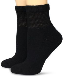 Dr. Scholl's Women's 2 Pair Pack Diabetes Circulatory Comfort Ankle Sock, Black, 4 10 Clothing