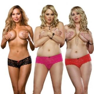 Dreamgirl Women's Plus Size Cheeky Stretch Lace Open Short 3 Pack Clothing
