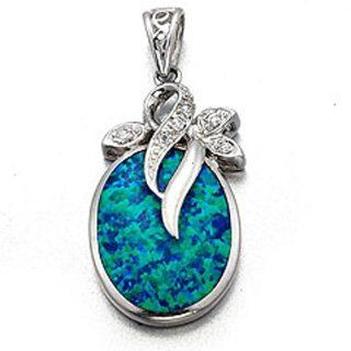 925 Sterling Silver 14K White Gold Plated Lab Created Opal & Cubic Zirconia Pendant Jewelry