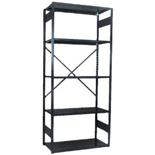 "Equipto 661 5S V Grip 18 Gauge Heavy Duty Steel Open Shelf Starter Unit with 5 Shelves, 650 lbs Shelf Capacity, 36"" Width x 84"" Height x 12"" Depth, Black Tool Utility Shelves"