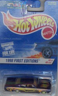 Hot Wheels 1998 FIRST EDITION 635 purple '65 IMPALA LOWRIDER 8 of 40 ON HOT WHEELSLEADING THE WAY CARD 164 Scale Die cast Collectible Car 164 Scale Toys & Games