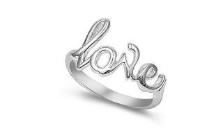"Sterling Silver ""Love"" Ring High Polished Romantic Solid 925 Italy Promise Band Size 4 Jewelry"