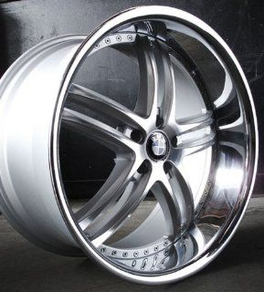 "XIX X15 Wheels 22x9"" 22x10.5"" BMW 645 Staggered Silver Chrome Lip w/ Tires Automotive"
