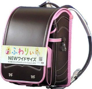 Waryi wide size school bag glitter ribbon color combination and mark (63 646) Girls sepia (body) x Pink (helicopter) Handle with handle Clarino F matte A4 clear file pocket A4 file size for Olivier (japan import)