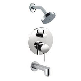 Hansgrohe HG T101 Brushed Nickel S S Tub and Shower Valve Trim with Thermostatic / Volume Control, Diverter, Single Function Shower Head and Non Diverter Tub Spout Less Spout HG T101   Tub And Shower Faucets