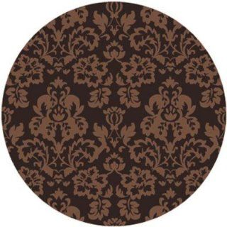 Surya Cosmopolitan COS 9058 Classic Hand Tufted 100% Polyester Hot Cocoa 8' Round Paisleys and Damasks Area Rug   Machine Made Rugs