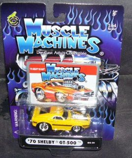 Muscle Machines '70 SHELBY GT 500 Yellow Diecast Car 164 Scale Toys & Games
