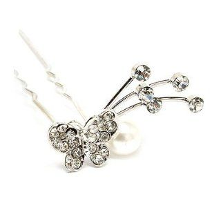 Bridal Wedding Jewelry Crystal Rhinestone Pearl Butterfly Hair Pin Silver White  Decorative Hair Combs  Beauty