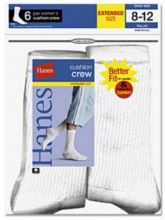 Hanes Women's Cushion Crew   Larger Shoe Size 683/6P, White, 8 12 (Pack of 6) Casual Socks