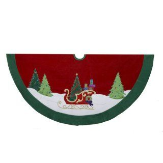 "48"" Red and Green Velvet with Metallic Sleigh & Christmas Embroidery Tree Skirt"