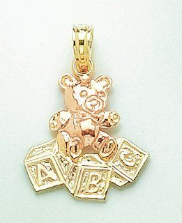 14k Gold Baby Necklace Charm Pendant, Teddy Bear Rose Gold With Abc Blocks Million Charms Jewelry