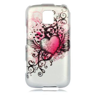 Talon Phone Case for LG MS690 Optimus M   Grunge Heart   MetroPCS/Cricket   1 Pack   Case   Retail Packaging   Hot Pink/Silver Cell Phones & Accessories