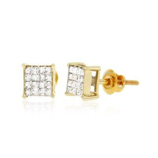 0.37 CT, White Princess cut Diamond Square Men's Stud Earrings in 14K Yellow Gold Jewelry