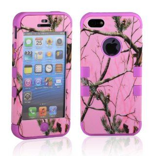 MagicSky Plastic + Silicone Hybrid Baby Pink Tree Pattern Case for Apple iPhone 5 5G   1 Pack   Retail Packaging   Purple Cell Phones & Accessories