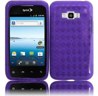 VMG 2 ITEM Combo For LG Optimus Elite LS696 TPU Gel Skin Case Cover   PURPLE Argyle Diamond Pattern Design Premium TPU 1 Pc Slim Fitted Rubber Gel Skin Case Cover + LCD Clear Screen Saver Protector [by VANMOBILEGEAR] Cell Phones & Accessories