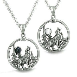Amulets Love Couple or Best Friends Set Howling Wolf and Moon Forces of Nature Medallions Positive Powers Man Made Black Onyx White Cat's Eye Pendants Necklaces Jewelry