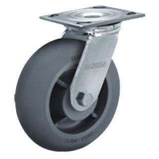 "Albion 16 Series 8"" Diameter X tra Soft Round Tread Wheel Medium Heavy Duty Zinc Plate Swivel Caster, Roller Bearing, 4 1/2"" Length X 4"" Width Plate, 675 lbs Capacity (Pack of 2)"