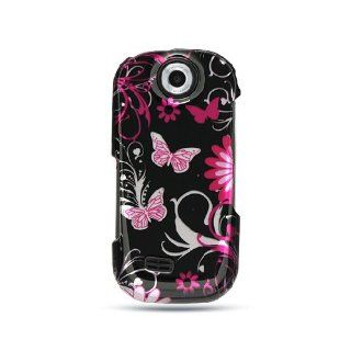 Pink Butterfly Hard Cover Case for Samsung Suede SCH R710 Cell Phones & Accessories