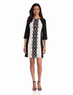 Jax Women's Long Sleeve Lace Sheath Dress, Ivory/Black, 8