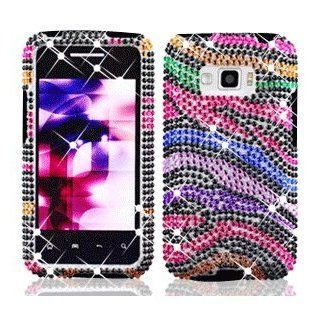 LG Optimus Elite LS696 LS 696 Cell Phone Full Crystals Diamonds Bling Protective Case Cover Black with Rainbow Color Zebra Animal Skin Design Cell Phones & Accessories