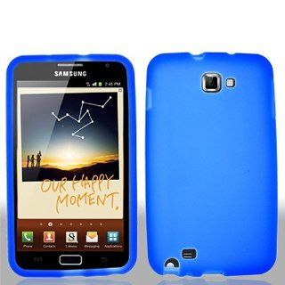 Blue Soft Silicone Gel Skin Cover Case for Samsung Galaxy Note N7000 SGH I717 SGH T879 Cell Phones & Accessories